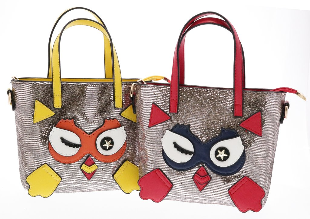 GLITTER TOP HANDLE PURSE WITH WINKING OWL