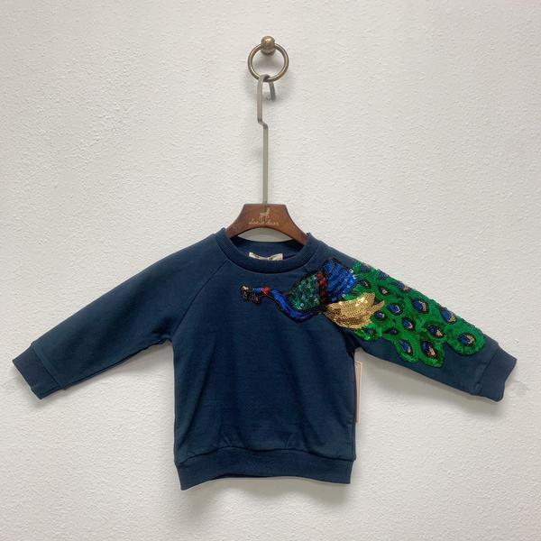 NAVY PEACOCK APLIQUE SWEATER DOE