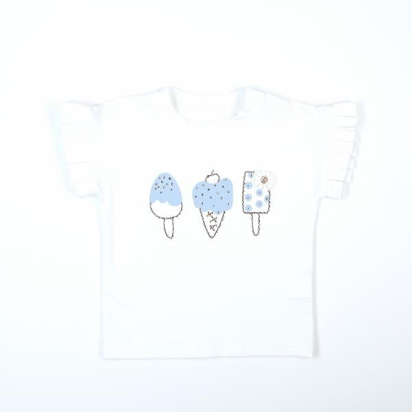 BLUE RUFFLE ICE CREAM TEE DOE