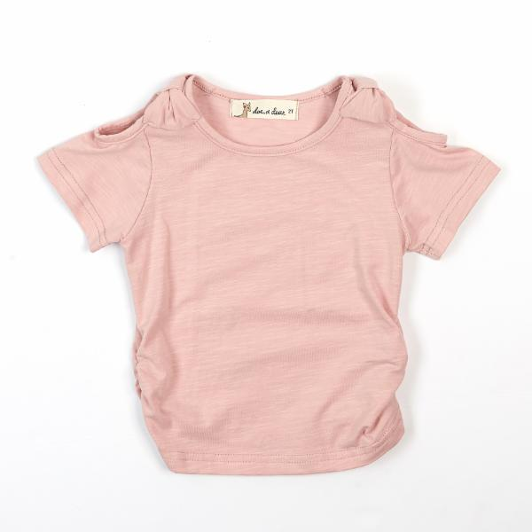 BLUSH BOW ACCENT TEE DOE