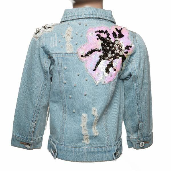 DENIM PEARL & FLOWER PATCH JACKET DOE