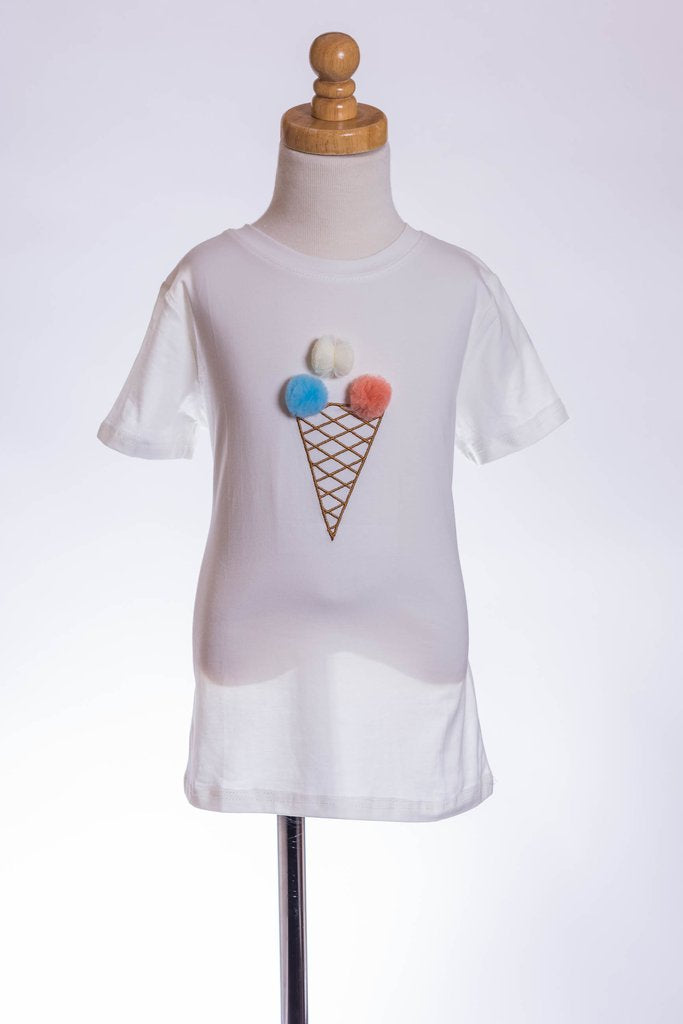 WHITE ICE CREAM POM-POM TEE ML