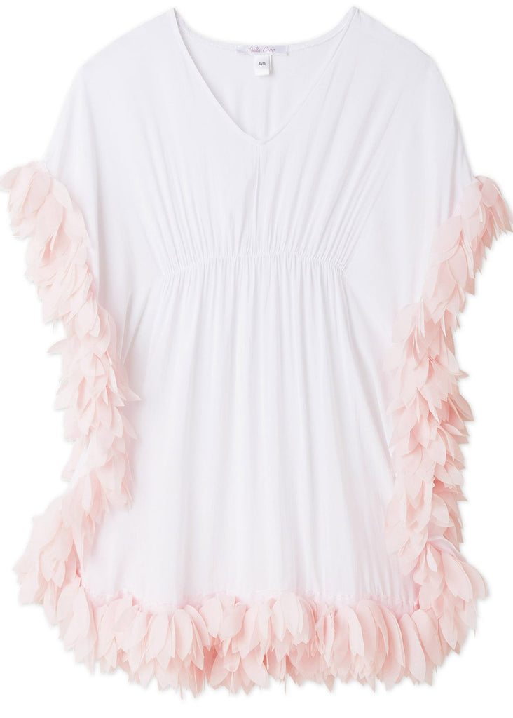 Cover-up Poncho White with Pink Petals