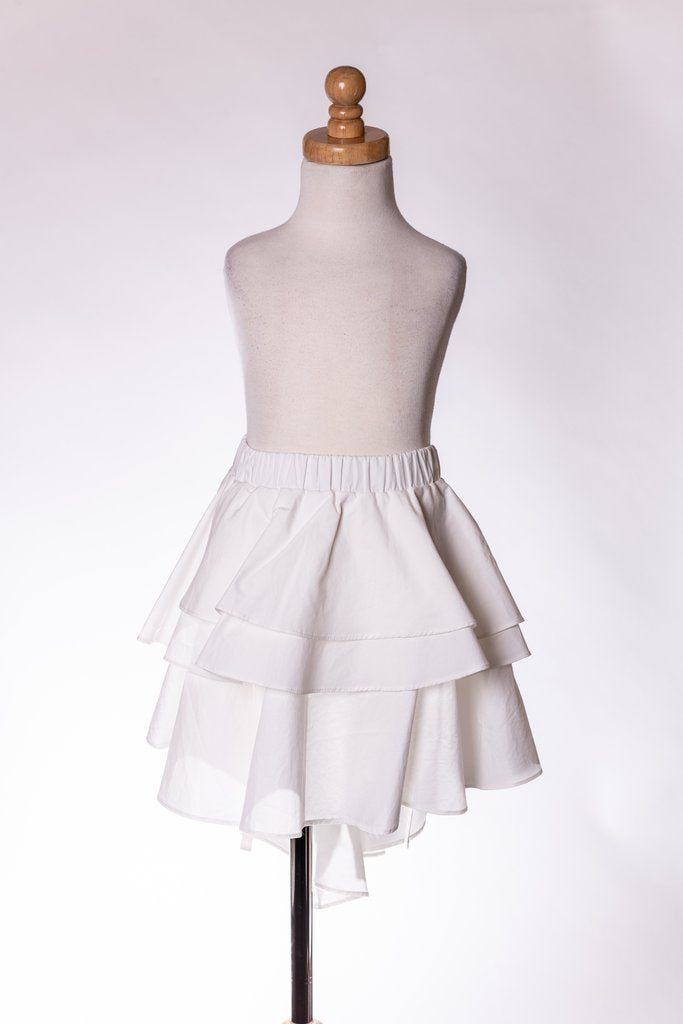 WHITE SUPER RUFFLE SKIRT ML