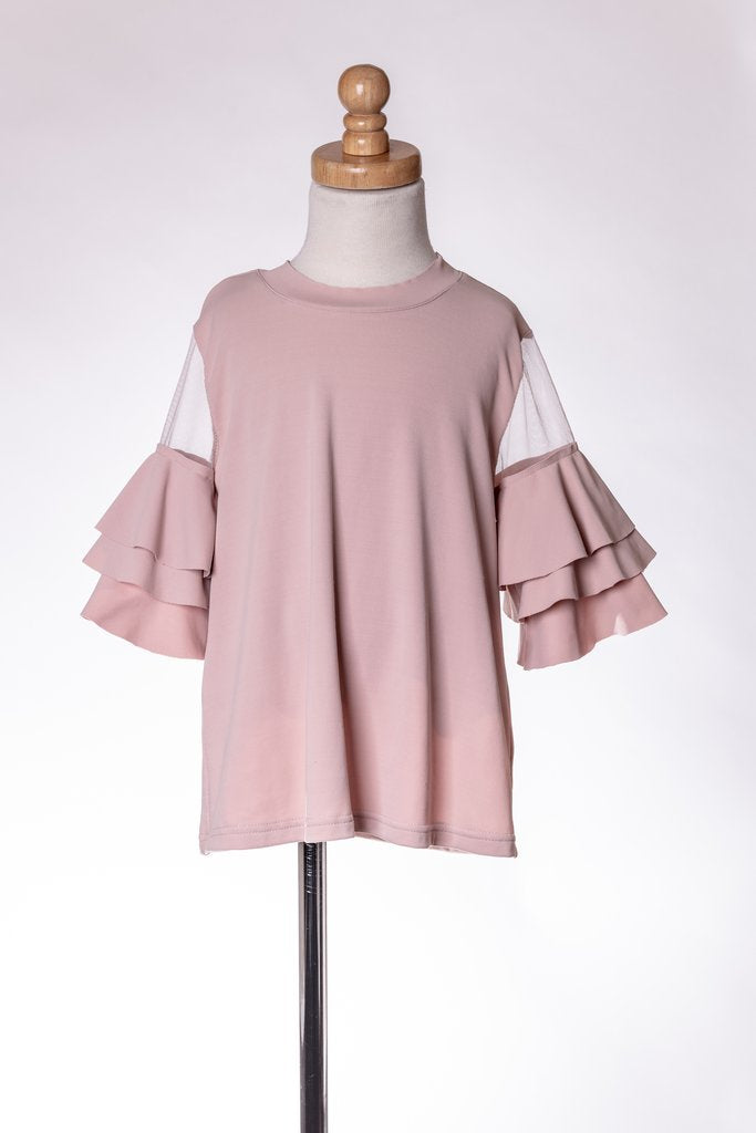 DEEP BLUSH RUFFLE TOP