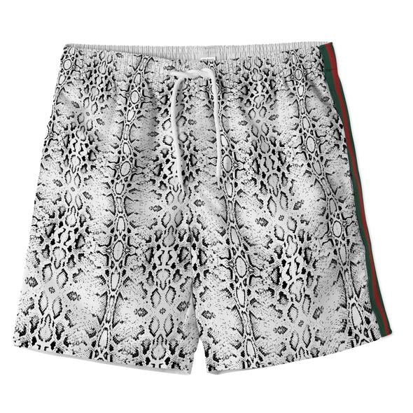 Snake Swim Shorts With Red and Green Stripe