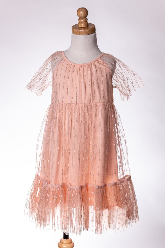 CORAL SPARKLE DRESS ML