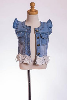 DENIM LACE VEST ML