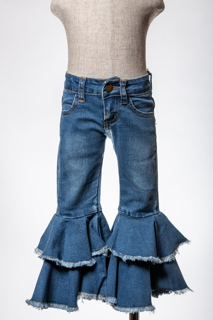 RUFFLED BELL BOTTOM DENIM ML