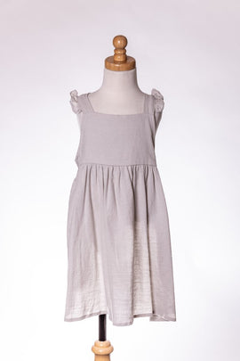 GREY TIE DRESS ML