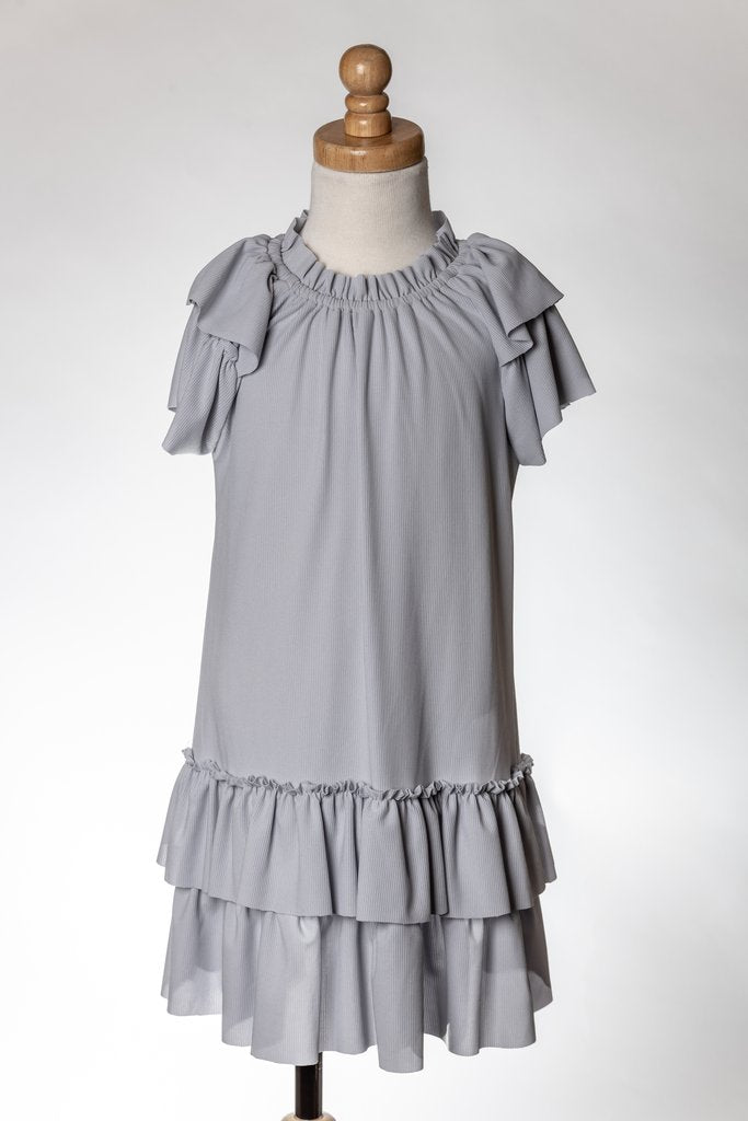 GREY RUFFLE DRESS ML