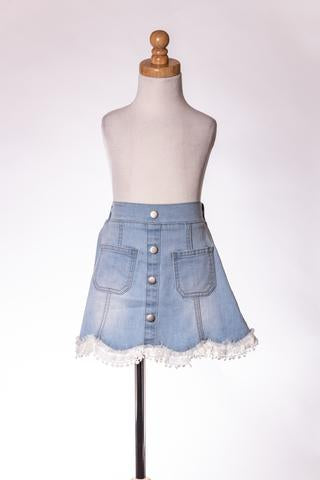 DENIM LACE SKIRT ML
