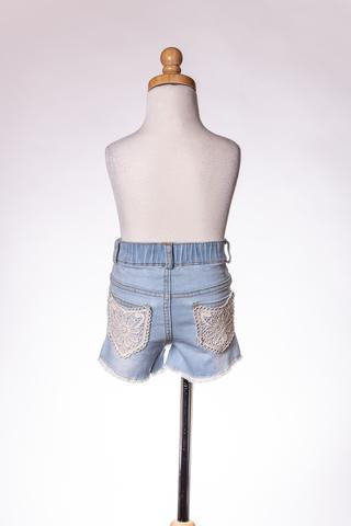 DENIM LACE POCKET SHORT ML
