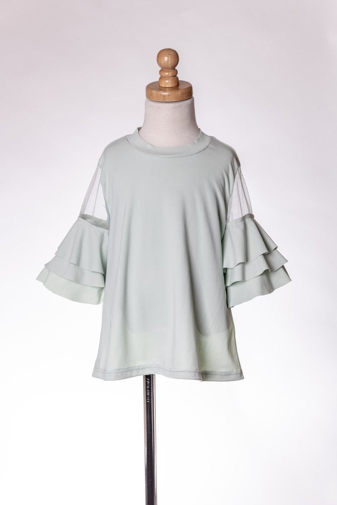 MINT RUFFLE TOP ML