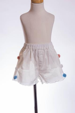WHITE POM-POM SHORT ML