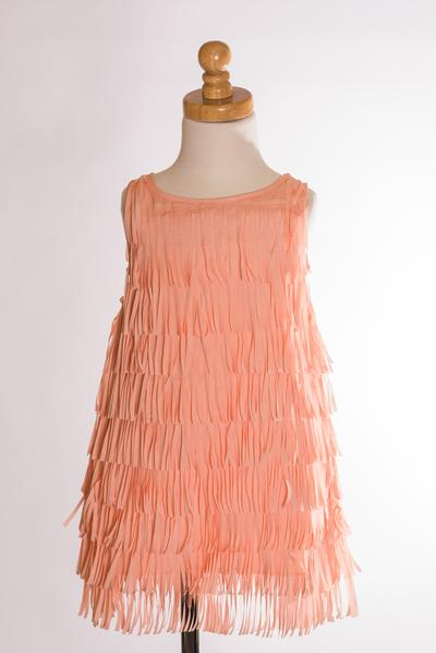 PEACH FRINGE DRESS ML