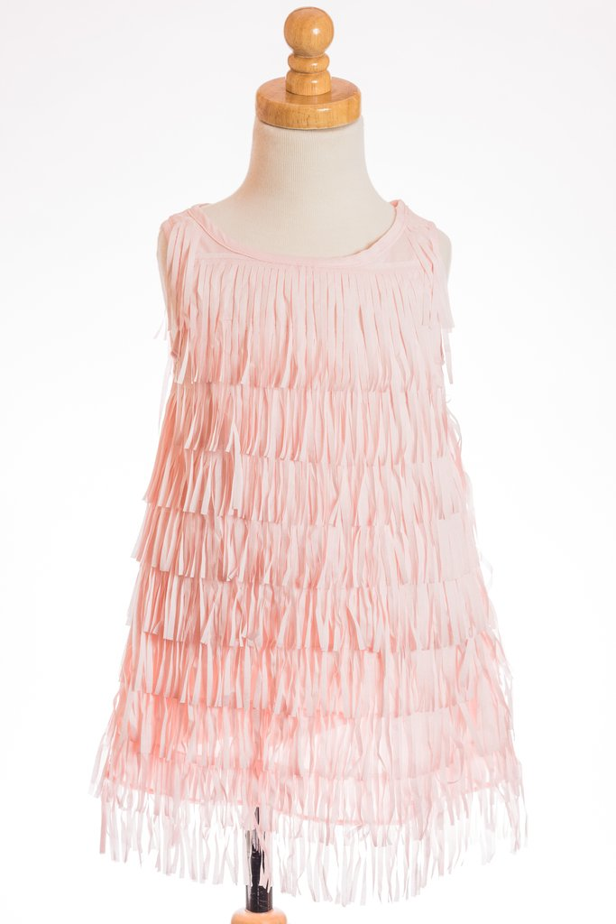 LIGHT PINK FRINGE DRESS ML