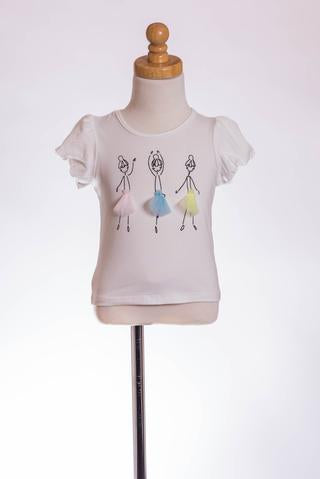 WHITE BALLERINA TEE ML