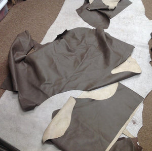 FR25 Leather Cow Hide Cowhide Upholstery Craft Fabric Olive Gray 20 sq ft