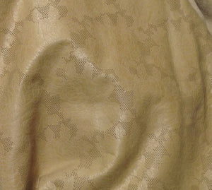 EMB31 Leather Cow Hide Cowhide Craft Fabric Beige Embossed Floral Rose 18 23 sf