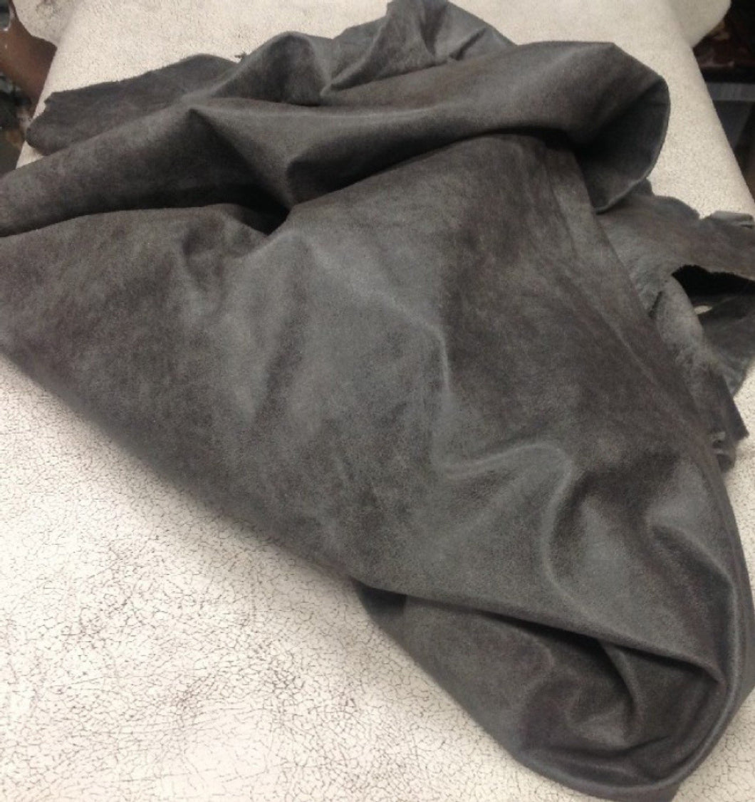 1BUFG Leather Buffalo Hide Upholstery Craft Fabric Distressed Gray Half Hide
