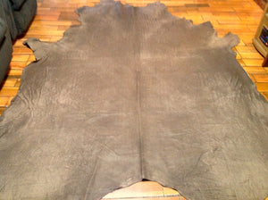 BR619 Leather Cow Hide Cowhide Upholstery Craft Fabric Chocolate Swamp Mud Brown