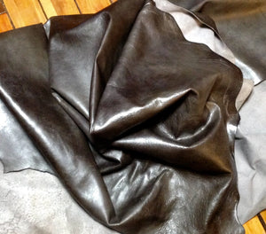 BR631 Leather Cow Hide Cowhide Upholstery Craft Fabric Distressed Pewter Gray