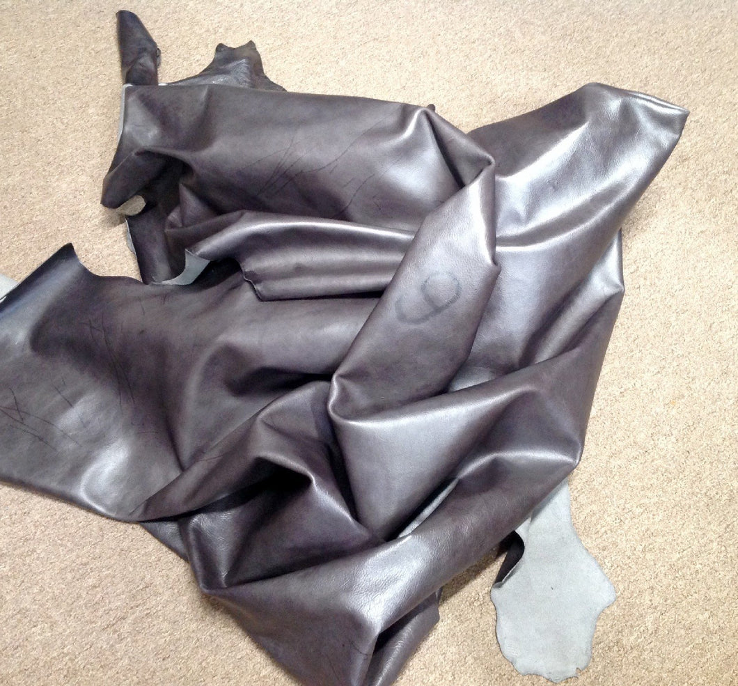 BR709 Leather Cow Hide Cowhide Upholstery Craft Fabric Montana River Rock Gray