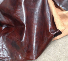 BR803 Leather Cow Hide Cowhide Upholstery Craft Fabric Black Embossed Alligator