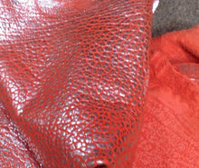 BR813 Leather Hide Sheepskin Upholstery Craft Fabric Silver Metallic Red 6 sq ft