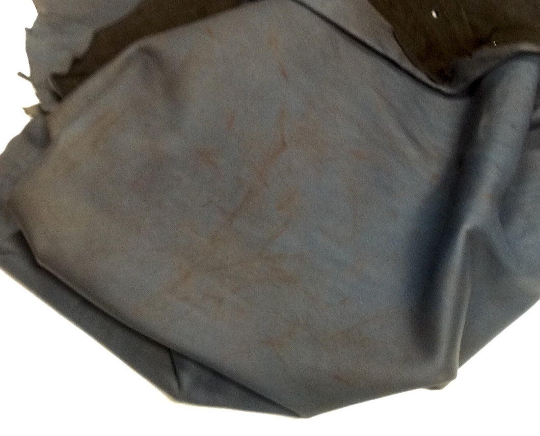 D15 Leather Hide Deerskin Upholstery Crafts Fabric Distressed Dark Blue 6 sq ft