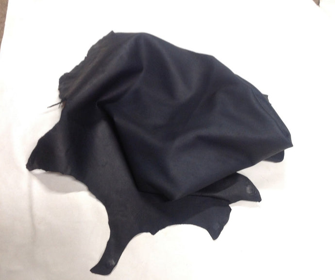 D16 Leather Hide Lambskin Upholstery Craft Fabric Distressed Dark Blue 9 sq ft