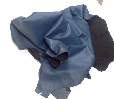 D17 Leather Hide Deerskin Upholstery Craft Fabric Distressed Blue 9 sq ft