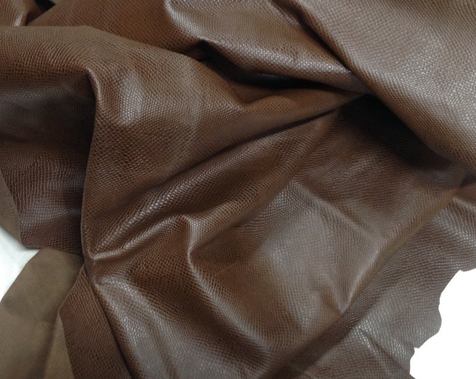 EMB33 Leather Cow Hide Cowhide Craft Fabric Brown Embossed Lizard 20 sq ft