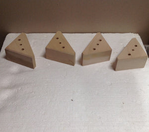 "Unfinished Triangle Block Furniture Feet Sofa Chair Couch Maple (4 legs) 2"" 2779"