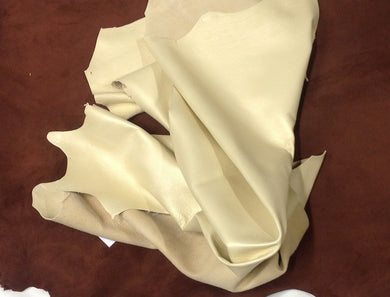 TD02 Leather Hide Deerskin Upholstery Crafts Fabric Brushed Satin Cream