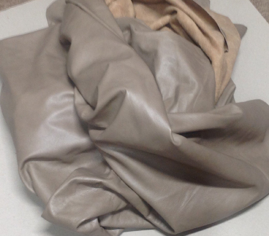 WS04 Leather Cow Hide Cowhide Upholstery Craft Fabric Mushroom Tan Brown 30 71