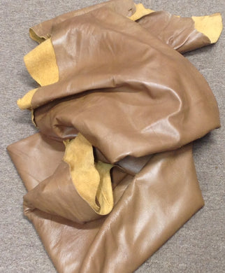 Z55 Leather Cow Hide Cowhide Upholstery Craft Fabric Solace Wheat Brown