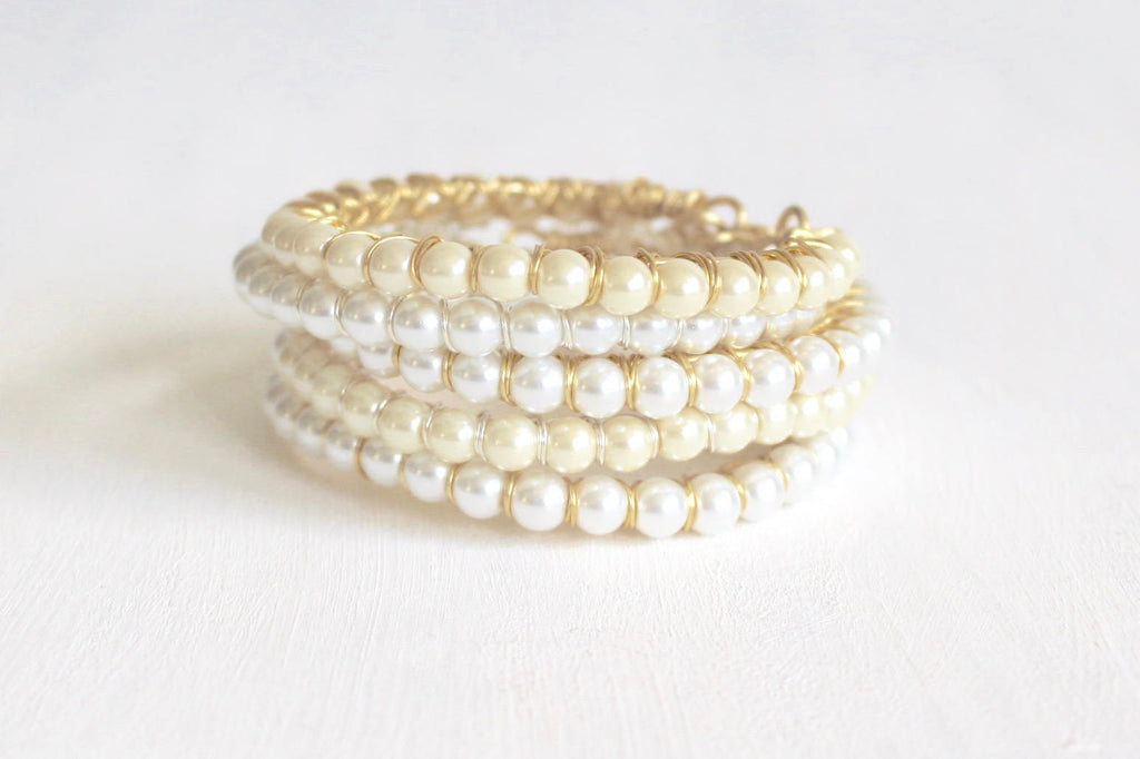 Pearl Wire Wrapped Bangle Bracelet - Wedding Bracelet