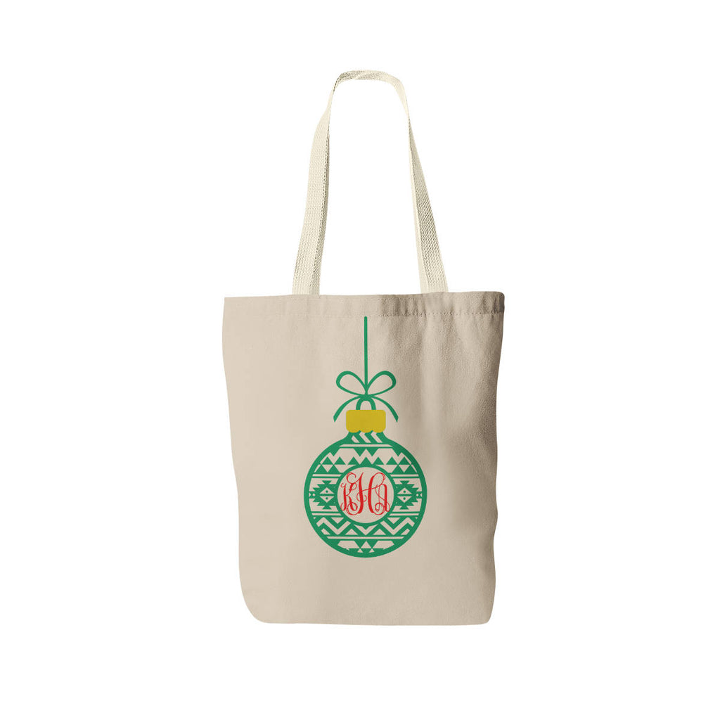 Personalized Christmas Tote Bag - Monogrammed Ornament Bag