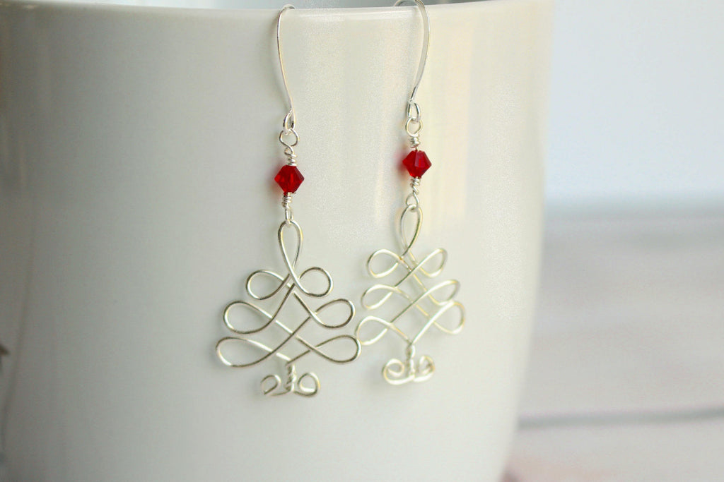 Christmas Tree Earrings - Celtic Christmas Tree Earrings