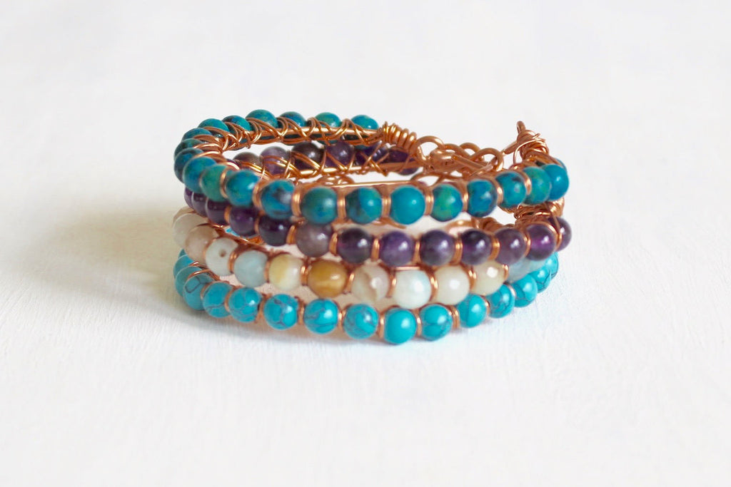 Copper and Crystal Bracelets - Bangle Bracelets