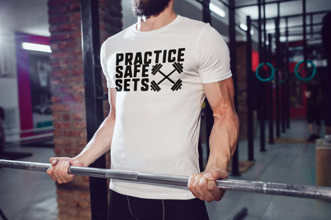 Practice Safe Sets - Funny Gym Shirt - Men's Triblend Tshirt