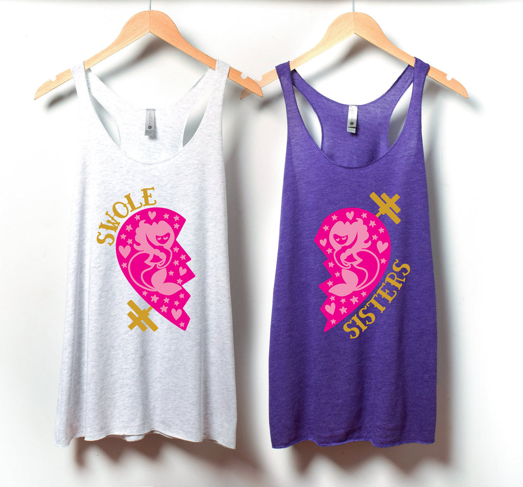 Swole Sisters Tank Set - Weight Lifting Partner Tanks - Swole Sisters Tanks - Swole Mates - Workout Tanks - Fitness Apparel - Partner WOD