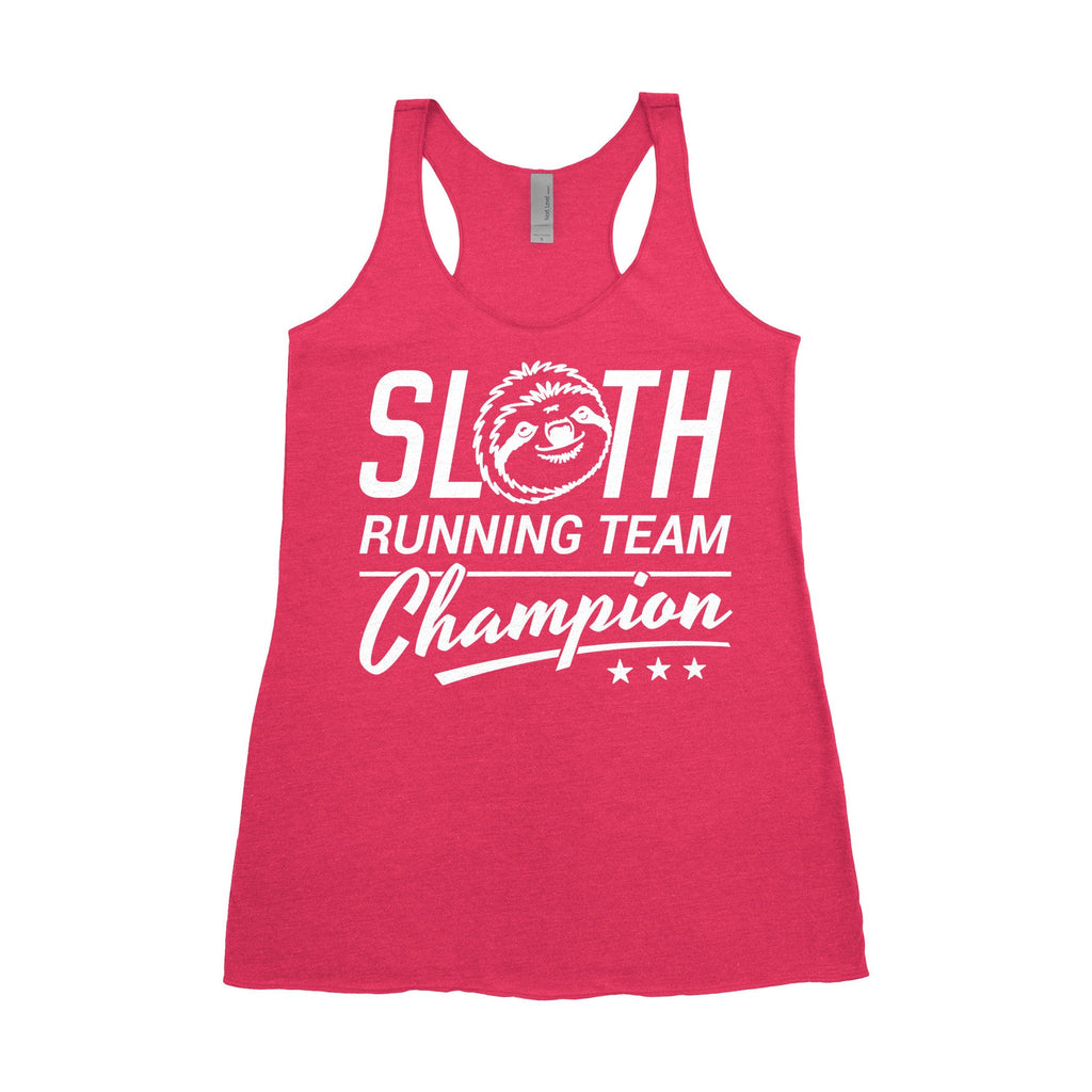 Ready to Ship -  Women's Racerback Tank - Sloth Running Team Champion