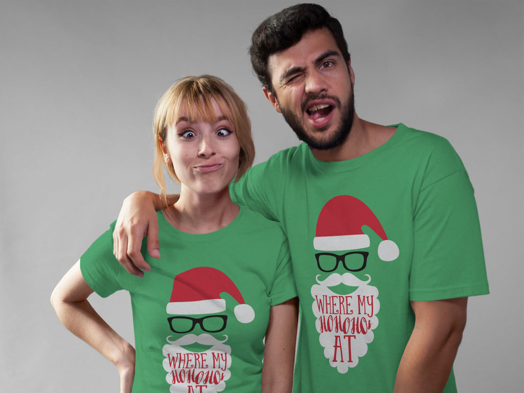 Where My Hos At Tee - Green Tee - Christmas Tee - Funny Holiday Tee - Christmas Shirt - Funny Christmas Tee -  Santa Tee - Santa Claus