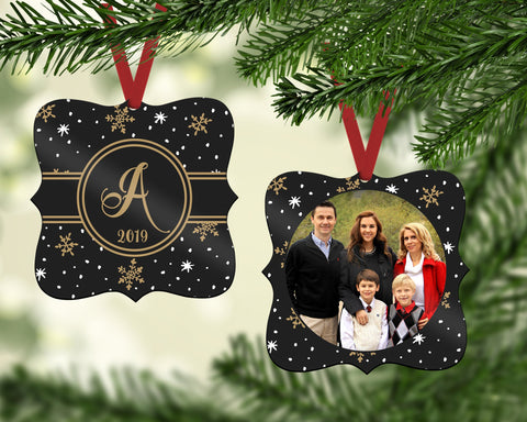 Personalized Photo Ornament - Personalized Black & Gold Christmas Ornament - Custom Gift