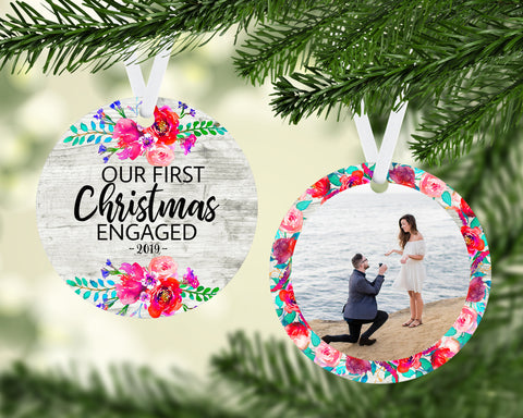 Personalized Photo Ornament - Engagement Ornament - First Christmas Ornament - Mr & Mrs - Engaged