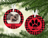 Personalized Photo Ornament - Personalized Dog Ornament - Buffalo Plaid Dog - Christmas Ornament - Gift for Dog Owner