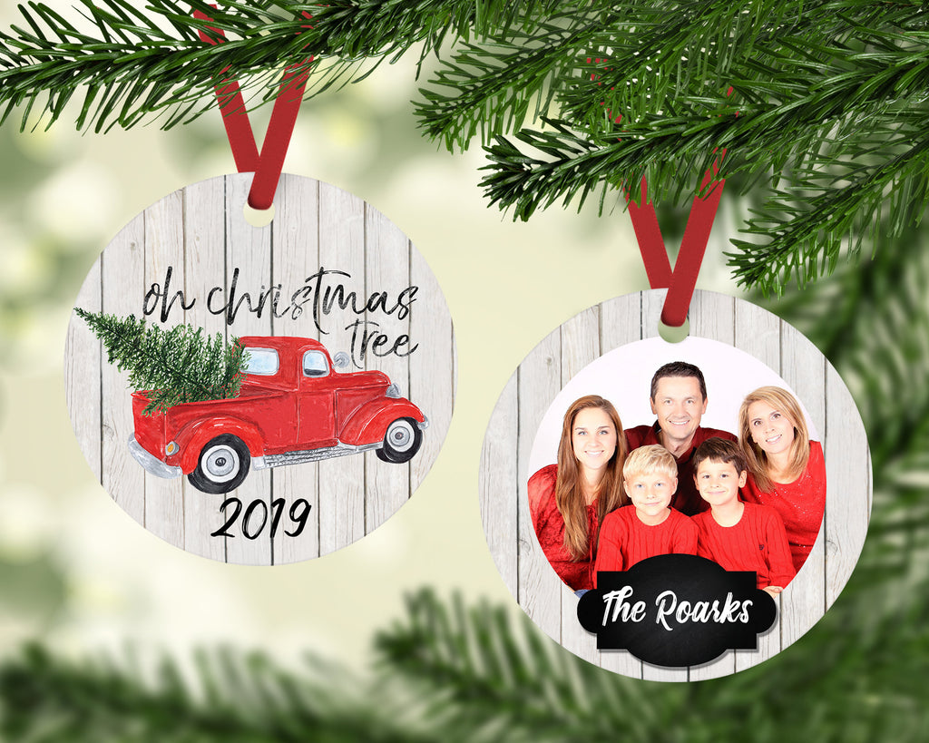 Personalized Photo Ornament - Oh Christmas Tree - Red Christmas Truck Ornament